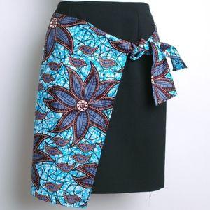 dark blue skirt with african print overlay